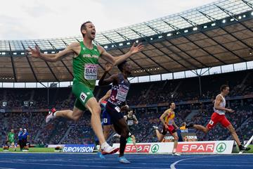 fc172250cdc70 ... star Sydney McLaughlin · Thomas Barr in the 400m hurdles at the 2018  European Championships in Berlin (Getty Images