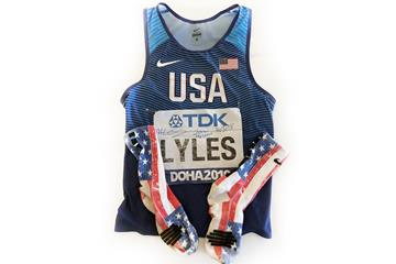 Noah Lyles' singlet, socks and bib (WA)