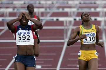 Julian Purvis of USA celebrates her victory in the 100m Hurdles (Getty Images)
