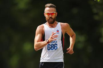 Luke Adams on his way to the Australian 50km race walking title (Getty Images)