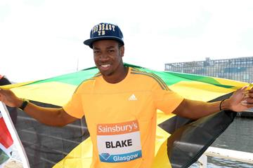 Yohan Blake ahead of the 2014 Diamond League meeting in Glasgow (Jiro Mochizuki)