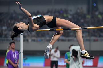 High jump winner Maria Lasitskene at the IAAF Diamond League meeting in Shanghai (Errol Anderson)