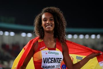 Maria Vicente after winning the heptathlon at the IAAF World U18 Championships Nairobi 2017 (Getty Images)
