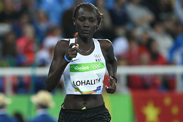 Anjelina Nadai Lohalith of the Refugee Olympic Team in the 1500m at the Rio 2016 Olympic Games (AFP / Getty Images)