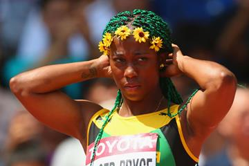 Shelly-Ann Fraser-Pryce after competing in the 100m heats at the IAAF World Championships, Beijing 2015  (Getty Images)