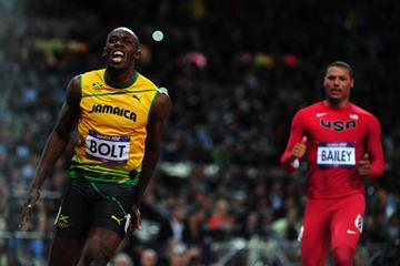 Usain Bolt celebrates winning gold in the 100m at the London 2012 Olympics (Getty Images)