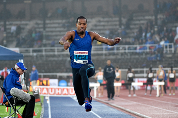 Christian Taylor in the triple jump at the IAAF Diamond League meeting in Stockholm (Hasse Sjogren)