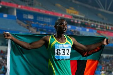 Sydney Siame after winning the 100m at the 2014 Youth Olympic Games (Getty Images)