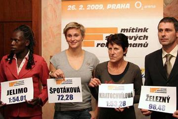Prague Indoor meeting press conference - Pamela Jelimo, Jarmila Kratochvilova, Barbora Spotakova and meeting director Jan Zelezny (LOC)
