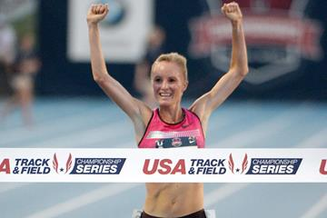 Shalane Flanagan celebrates her 10,000m win at the 2013 US Championships (Kirby Lee)