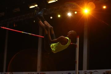 Mutaz Essa Barshim clears 2.40m at the 2015 Banska Bystrica high jump meeting   (organisers / Miroslava Chabadova)