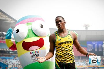 Martin Manley after winning the boys' 400m at the 2014 Youth Olympic Games (Getty Images)