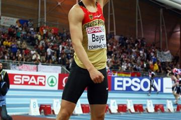 Sebastian Bayer punches the air after leaping to an incredible European record of 8.71m in the long jump (Getty Images)