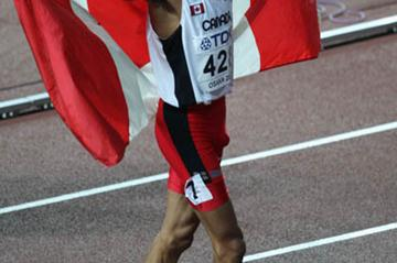 Gary Reed of Canada celebrates winning silver in the men's 800m (Getty Images)