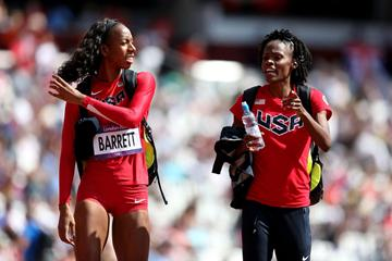 Brigetta Barrett and Chaunte Lowe of the United States in discussion after the Women's High Jump qualification  of the London 2012 Olympic Games on 09 August 2012 (Getty Images)