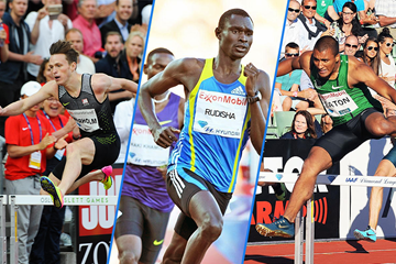 Karsten Warholm, David Rudisha and Ashton Eaton at the IAAF Diamond League meeting in Oslo (Mark Shearman)