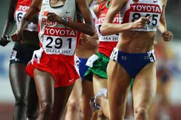 Maryam Yusuf Jamal of Bahrain and Yelena Soboleva of Russia in action in the 1500m Final (Getty Images)