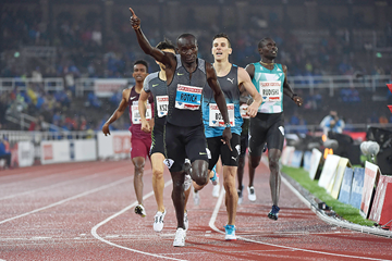 Ferguson Rotich wins the 800m at the IAAF Diamond League meeting in Stockholm (Hasse Sjogren)
