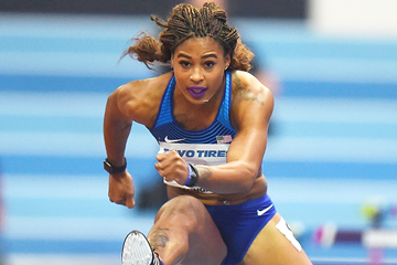 Sharika Nelvis in the 60m hurdles at the IAAF World Indoor Championships Birmingham 2018 (Getty Images)