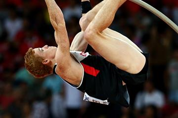 Shawnacy Barber of Canada competes in the pole vault at the IAAF World Championships, Beijing 2015 (Getty Images)