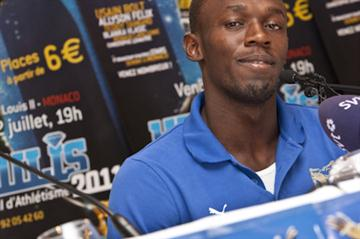 Usain Bolt meets the press in Monaco (Philippe Fitte)