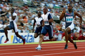 Asafa Powell defeats Maurice Greene in Zurich Golden League (Getty Images)