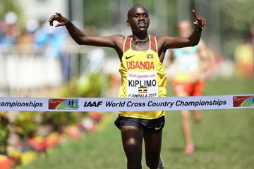 Jacob Kiplimo winning the men's U20 race, Uganda's first gold medallist at a World Cross Country Championships (Roger Sedres)