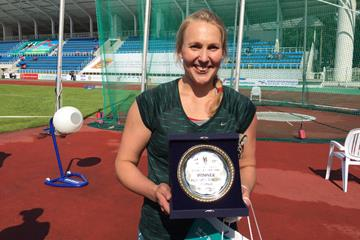 Mariya Bespalova after winning at the 2015 Znamensky Memorial in Zhukovsky (ARAF)