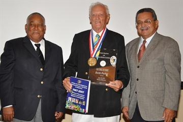 Neville McCook, veteran coach Keith Holland Parker, MBE, and Victor Lopez (David Charlton)