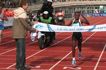 Lydia Cheromei wins her debut marathon race at the 2008 ING Amsterdam Marathon (organisers)