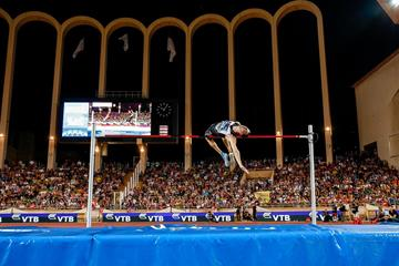 Bogdan Bondarenko in the high jump at the IAAF Diamond League meeting in Monaco (Philippe Fitte)