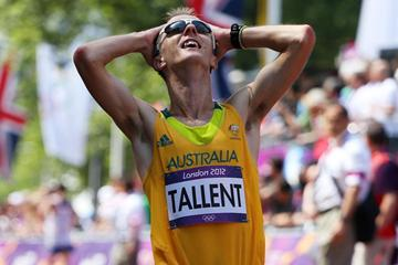 Jared Tallent of Australia celebrates after crossing the finish line and claiming silver in the Men's 50km Walk of the London 2012 Olympic Games (Getty Images)