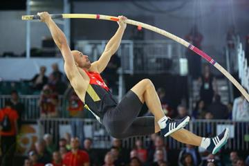 Carlo Paech in the pole vault at the IAAF World Indoor Championships Portland 2016 (Getty Images)