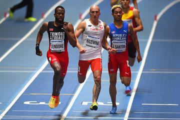 Poland's Jakub Krzewina (centre) in the men's 4x400m at the IAAF World Indoor Championships Birmingham 2018 (Getty Images)