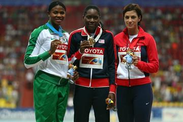 The women's long jump medal ceremony at the IAAF World Championships Moscow 2013 (Getty Images)