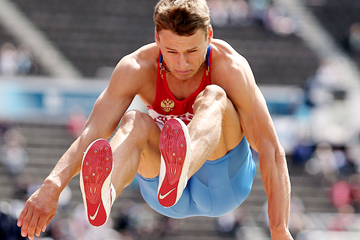 Russia's Pavel Shalin on his way to winning the long jump (Getty Images)