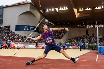 Thomas Rohler, winner of the javelin at the IAAF Diamond League meeting in Monaco (Philippe Fitte)