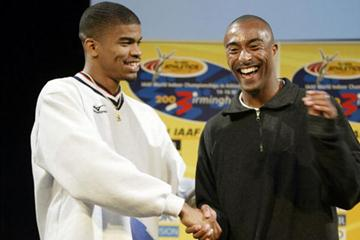 Terrence Trammell and Colin Jackson shake hands (Getty Images)