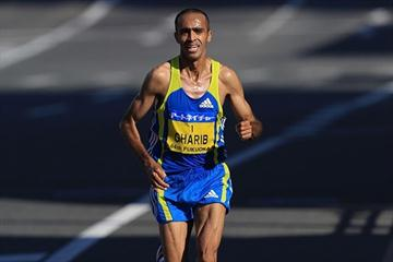 Running alone over the final 15Km, Jaouad Gharib takes the 2010 Fukuoka Marathon (Yohei KAMIYAMA / Agence SHOT)