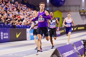 Pavel Maslak of the Czech Republic wins the 400m (Getty Images)
