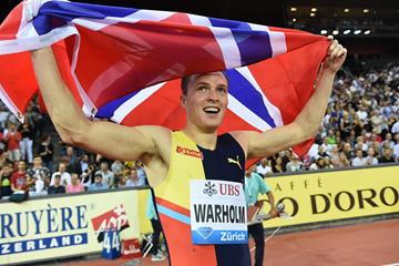 Karsten Warholm after winning the 400m hurdles at the IAAF Diamond League final in Zurich (Jiro Mochizuki)
