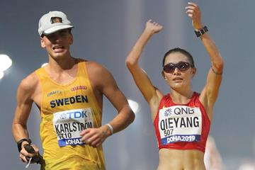 Perseus Karlstrom and Qieyang Shenjie at at the IAAF World Athletics Championships Doha 2019 (AFP / Getty Images)