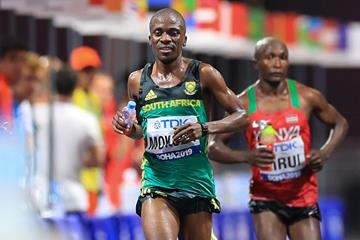 Stephen Mokoka in the marathon at the World Athletics Championships Doha 2019 (AFP / Getty Images)