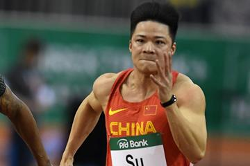 Su Bingtian on his way to winning the 60m at the IAAF World Indoor Tour meeting in Dusseldorf (Gladys Chai von der Laage)