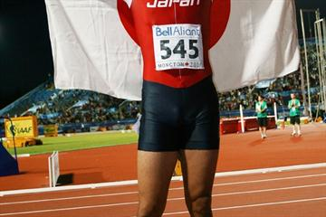 Japan's Shota Iizuka celebrates becoming the first athlete from an Asian country to win a sprint medal at the IAAF World Junior Championships (Getty Images)