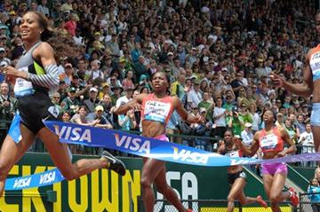 Sanya Richards-Ross wins the 400m in Eugene (Kirby Lee - Image of Sport)