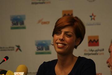 Blanka Vlasic at the pre-meet press conference in Rabat (Bob Ramsak)