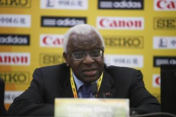 IAAF President Lamine Diack at the press conference for the IAAF World Cross Country Championships, Guiyang 2015 (Getty Images)