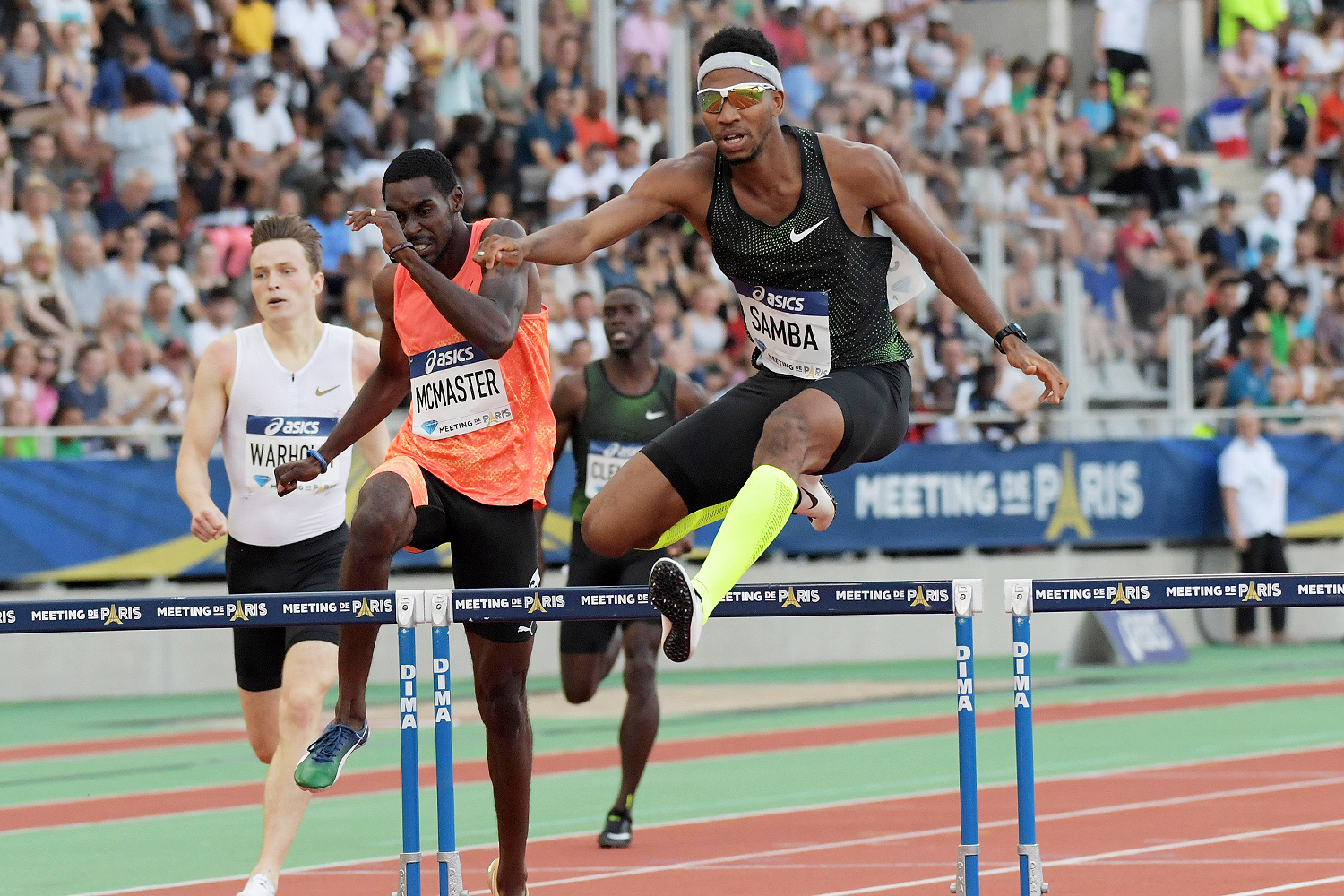 Abderrahman Samba en route to his historic 46.98 run in the 400m hurdles at the IAAF Diamond League meeting in Paris (Kirby Lee)