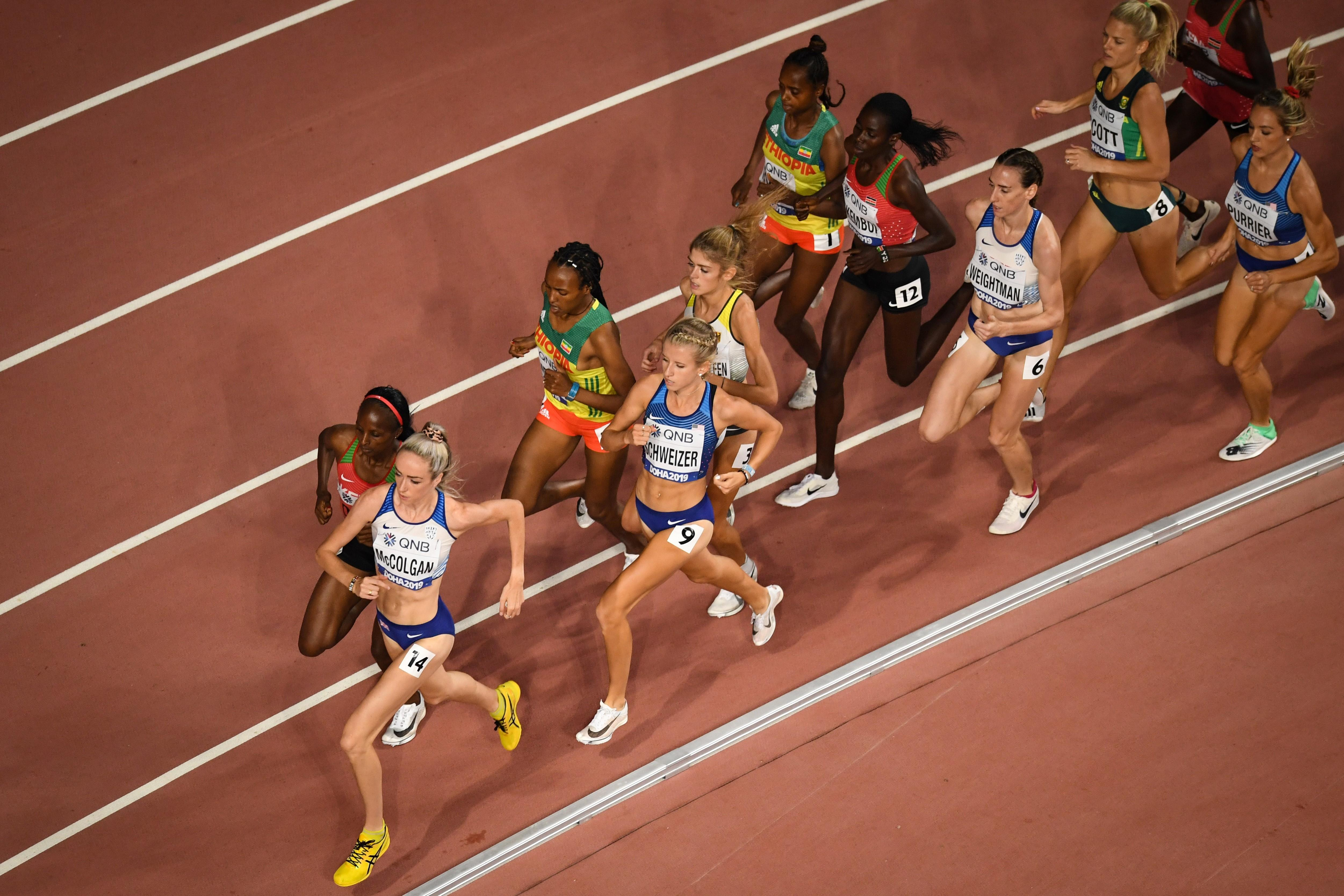 Athletes in action in the women's 5000m at the World Championships (AFP / Getty Images)